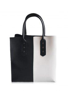 Metal Embellished Two Tone Tote Bag - Black White
