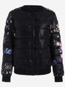 Snap Button Floral Jacket - Black M