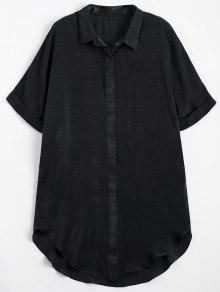 Button Up Plain Longline Shirt - Black S