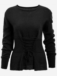 Lace Up Long Sleeve Sweater - Black
