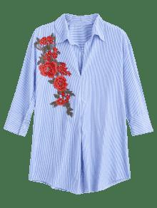 Floral Remendada Raya S Larga Camisa Rayada q4tw7