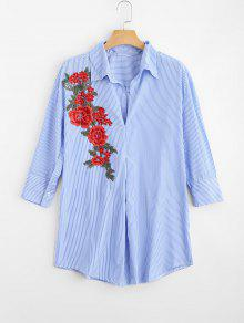 Floral Patched Striped Long Shirt - Stripe L