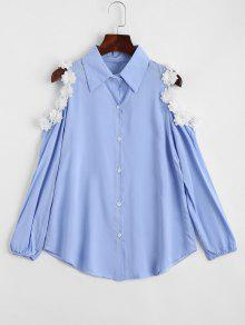 Flower Embellishment Cold Shoulder Shirt - Sky Blue M