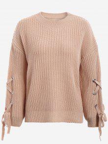 Drop Shoulder Lace Up Sweater - Khaki