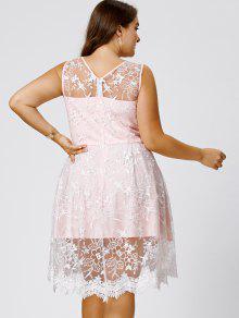 Plus Size Sleeveless Embroidery Skater Dress