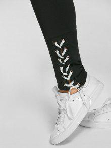 8e1834d10b4ed 36% OFF] 2019 Pantalon Moulant Avec Lacets Grande-Taille Dans Noir ...