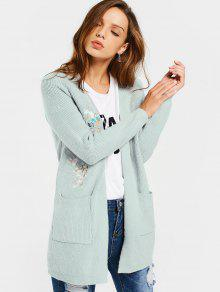 Open Front Floral Embroidered Cardigan - Light Green