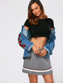 3eba393e156 38% OFF] 2019 Drop Shoulder Rose Embroidery Jean Jacket In BLUE | ZAFUL