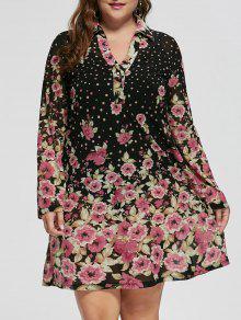Vestido De Manga Comprida Floral Tamanho Grande - Preto 4xl