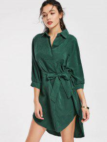 Belted Plain High Low Dress - Green M