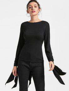 Split Sleeve Self Tie Bowknot Wrap T-shirt - Black 2xl