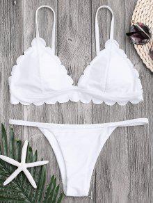 Bikini De Tanga Festoneada Con Cintura Baja - Blanco M