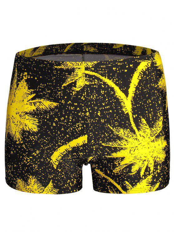 Troncos de natação de impressão de folhas - Amarelo Tamanho único