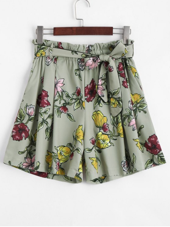 ladies Smocked Floral High Waisted Shorts - FLORAL L