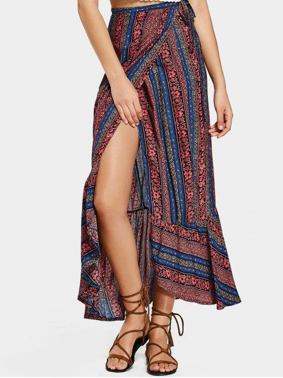 outfits Tribal Ruffles Wrap Maxi Skirt - COLORMIX ONE SIZE