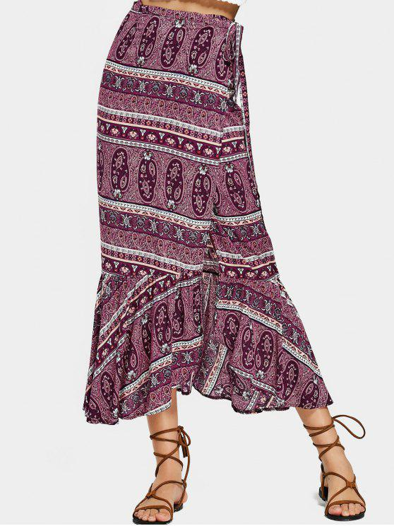 shop Tribal Flounces Wrap Maxi Skirt - PURPLE ONE SIZE