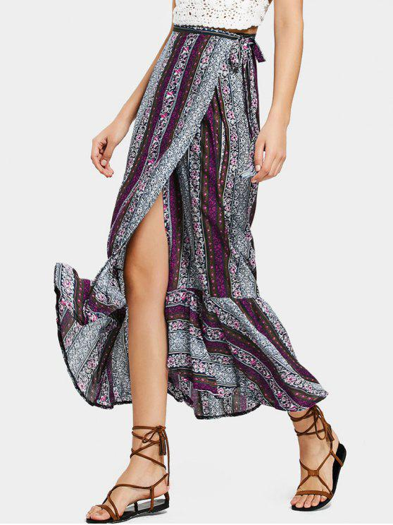 latest Ruffled Hem Wrap Tribal Maxi Skirt - PURPLE ONE SIZE