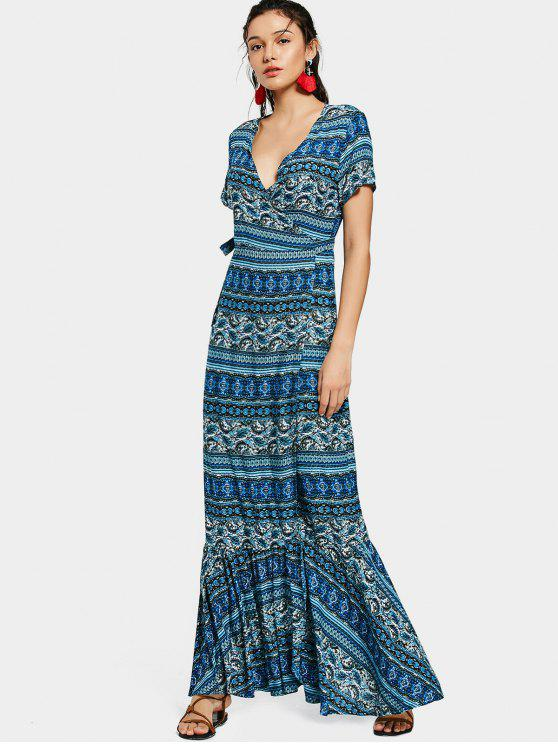 fashion Printed Flounces Wrap Maxi Dress - BLUE ONE SIZE