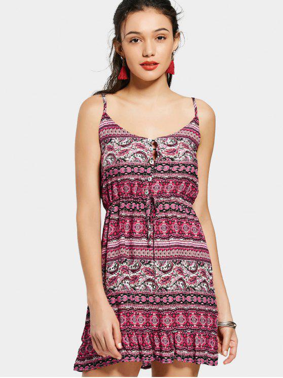shop Half Buttoned Ruffels Tribal A Line Dress - RED L