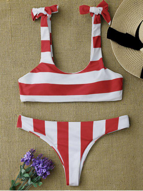 best Striped Tie Shoulder Scoop Bikini Set - RED AND WHITE M