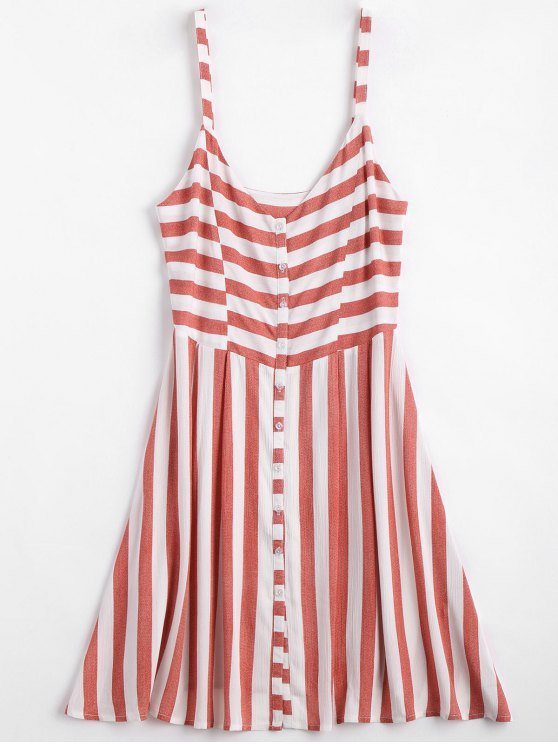 outfits Button Up Stripes Casual Dress - RED AND WHITE S