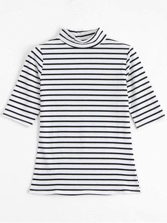 shop High Neck Striped Tee - STRIPE XL