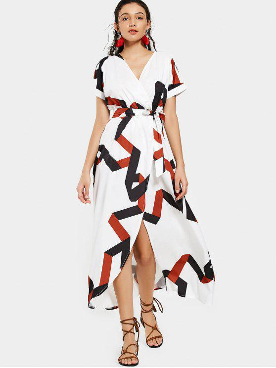 lady Belted Geometric Surplice Maxi Dress - WHITE S