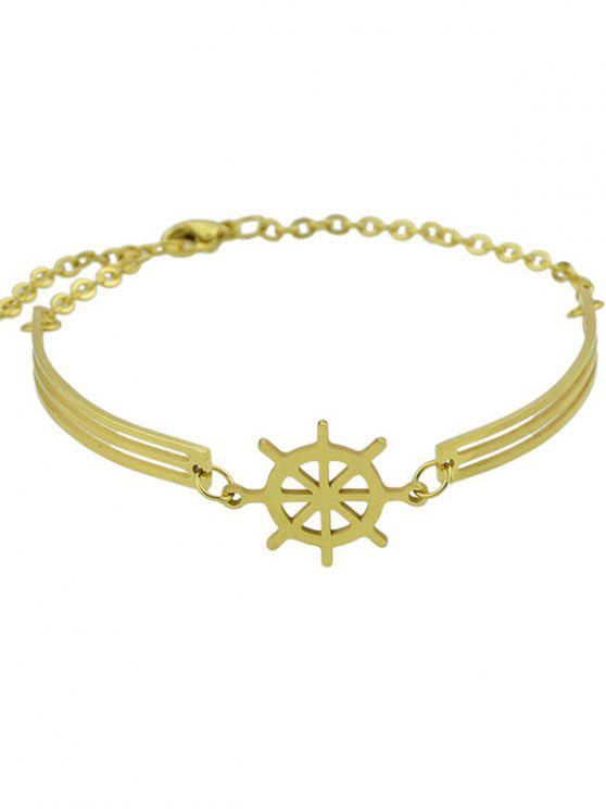 ladies Boat Helm Charm Bracelet - GOLDEN