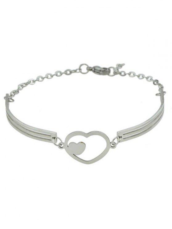 online Double Heart Alloy Bracelet - SILVER