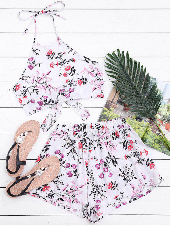outfit Halter Floral Crop Top with Shorts - WHITE S
