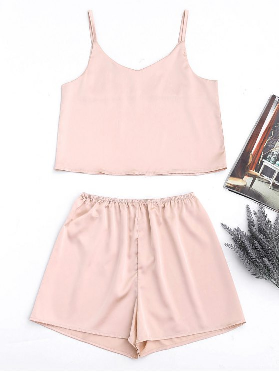 outfits Cami Satin Tank Top and High Waisted Casual Shorts - PINKBEIGE L