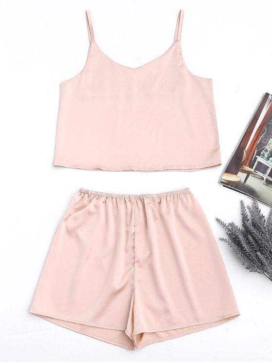 Cami satin et shorts décontractés à taille haute - Rose Abricot M