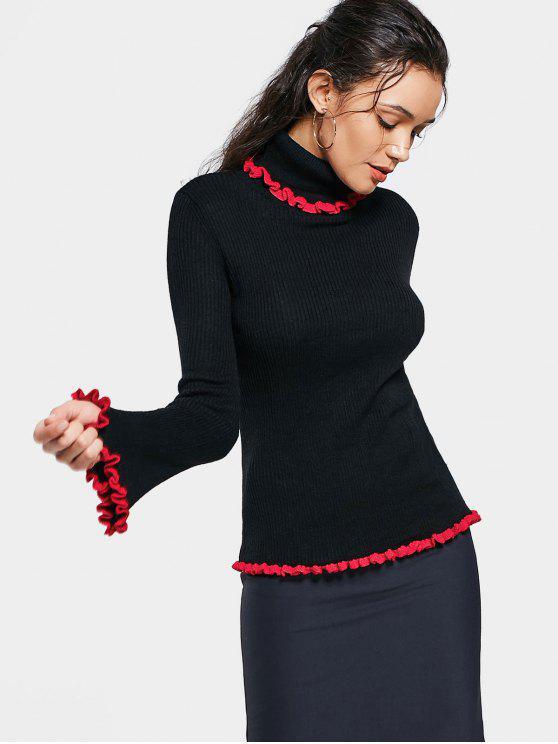 Suéter con cuello de cola en contraste con volantes - Negro L
