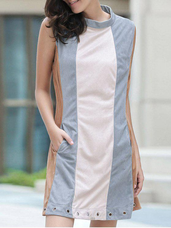 womens Cut Out Hit Color Round Neck Sleeveless Dress - BLUE GRAY M