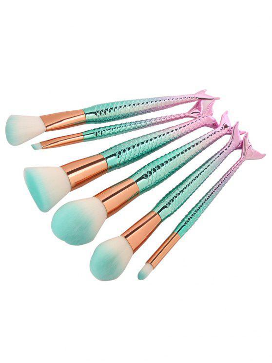 6Pcs Face Eye Ombre Mermaid Handle Makeup Brushes - Azul Rosado