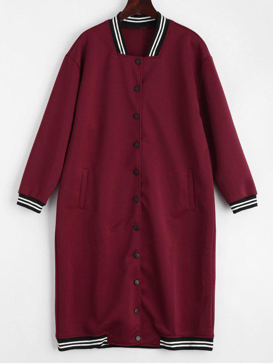womens Snap Button Pockets Striped Long Coat - DEEP RED ONE SIZE