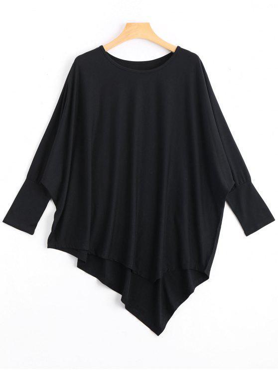 Dolman manga camiseta asimétrica - Negro Única Talla