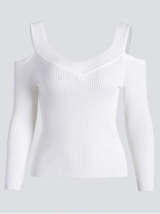 Camiseta de punto acanalada con hombros fríos - Blanco Única Talla