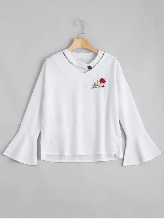 بلوزة توهج الأكمام مرقع بالأزهار - أبيض XL