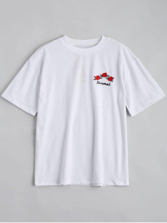 Camiseta floral remendada del hombro de la gota - Blanco S