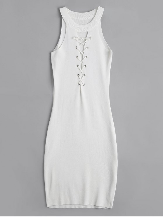 buy Knitting Lace Up Bodycon Dress - WHITE ONE SIZE