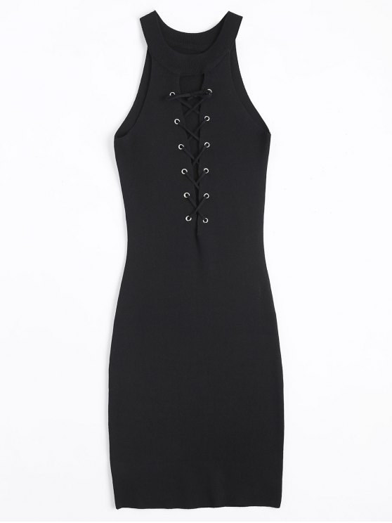 womens Knitting Lace Up Bodycon Dress - BLACK ONE SIZE