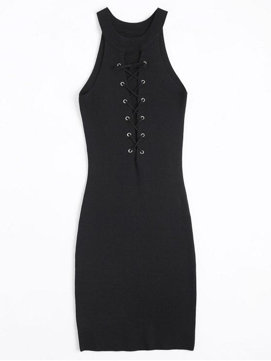 Tejido de encaje hasta Bodycon vestido - Negro Única Talla