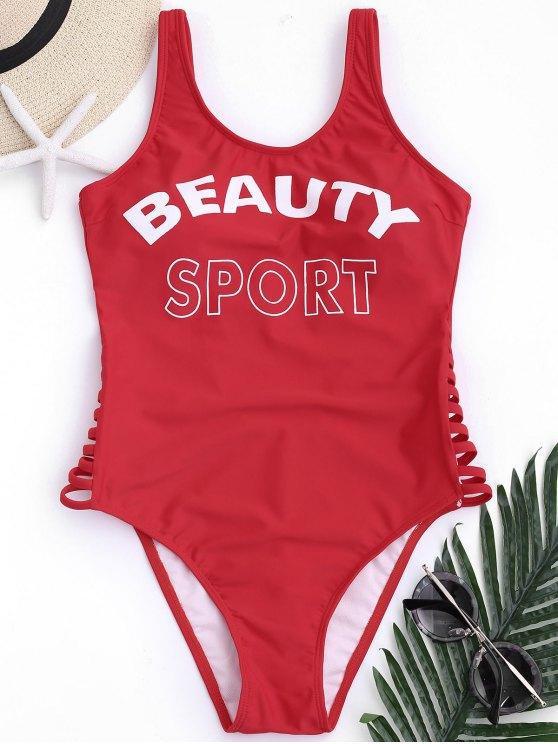 shop Low Back Beauty Sport One Piece Swimwear - RED S