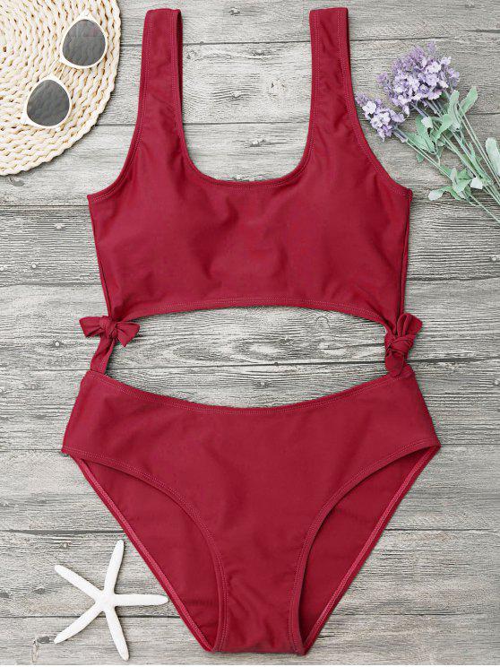 womens High Leg Cut Out Bowknot Swimwear - RED L