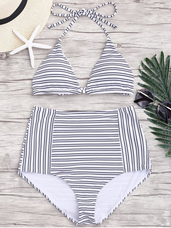 outfit Striped Halter High Waisted Bikini - STRIPE L