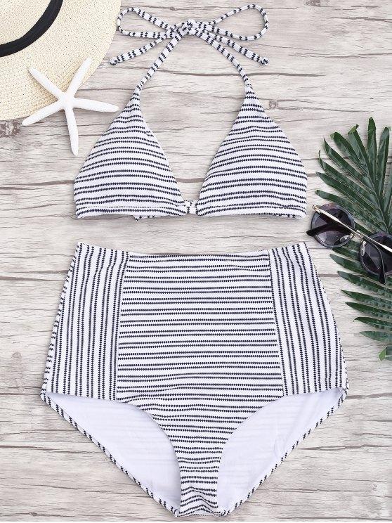 outfits Striped Halter High Waisted Bikini - STRIPE M