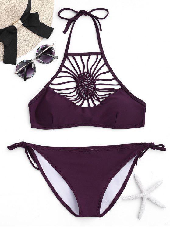 trendy Halter Strappy Bikini Set - BORDEAUX S