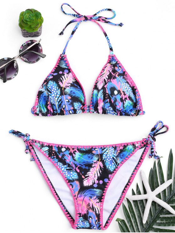 chic Halter Feather Print String Bikini - COLORMIX M