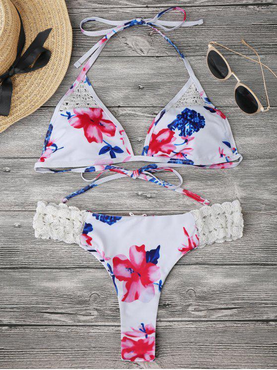 women Bralette Floral Crochet Panel Bikini - WHITE L